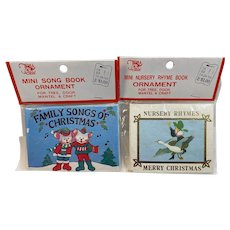 2 Vintage Mini Nursery Rhyme and Song Book Ornaments in Original Packages