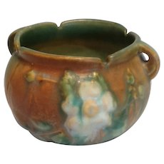 Roseville Pottery White Rose Green and Brown Jardiniere 653-3