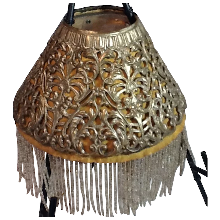 Victorian Pierced Metal Lamp Shade With, Victorian Lamp Shade Beaded Fringe