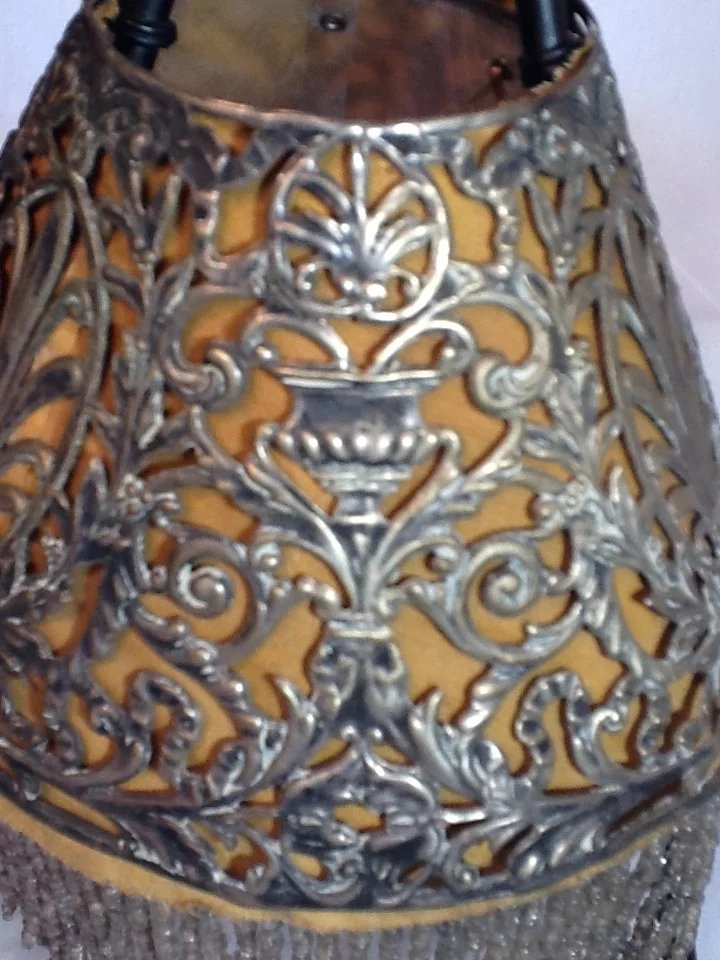 Victorian Pierced Metal Lamp Shade With Beaded Fringe