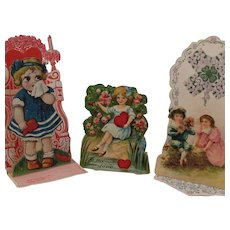 3 Victorian Die Cut German Valentines - 2 are Pop Ups