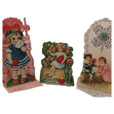 3 Victorian Die Cut German Valentines - 2 are Pop Ups