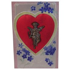 Vintage Valentine Postcard with Metal Cupid on Red Satin Heart