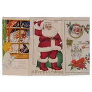 Three Vintage Santa Postcards