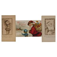 Ellen Clapsaddle Santa Postcard and 2 Rare Gibson Santa Postcards