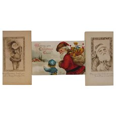Ellen Clapsaddle Santa Postcard and 2 Rare Gibson Santa Postcards