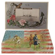 1908 Embossed 'Great White Fleet' Postcard and a Tuck 'George Washington's Birthday' No. 124 Postcard Patriotic