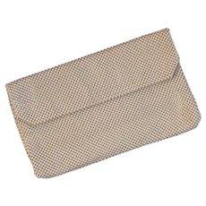 Vintage Whiting & Davis Mesh Clutch Purse Beige & Gold