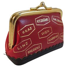 Vintage Leather Suitcase Sewing Kit Made in Austria Advertising Piece