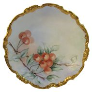 Lovely JPL Handpainted Cherries Bowl Jean Pouyat Limoges