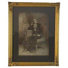 Fireman Photograph Photo in an Ornate Golden Frame