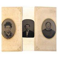 Family of 3 Tin Type Photos - Mother, Daughter, Son