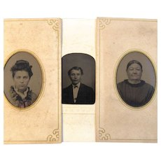 Family of 3 Tin Type Photos - Mother, Daughter, Son