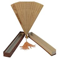 Vintage Asian Bamboo Fan in Original Glass Top Box