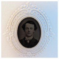 Miniature Tin Type of a Young Boy in Paper Frame Patented March 7, 1866