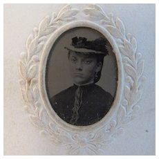 Miniature Tin Type of a Young Girl in Paper Frame