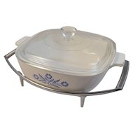 Corning Ware Cornflower Blue 1 Quart Casserole on Chrome Stand Vintage Retro Kitchen Kitchenware