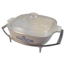 Corning Ware Cornflower Blue 1 Quart Casserole on Chrome Stand Vintage Retro Kitchen Kitchenware