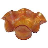 Vintage Fenton Holly Marigold Carnival Glass Whimsy Hat Ruffled Edge Bowl