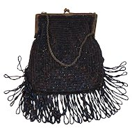 Carnival Glass Bead Fringed Flapper Deco Purse