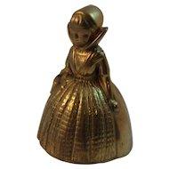 Vintage Figural Brass Bell ~ Little Girl with Basket