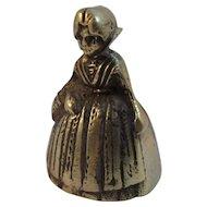 Vintage Figural Brass Bell ~ Lady with Basket
