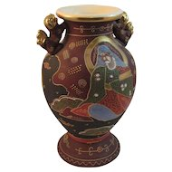 Large Japanese Moriage Satsuma Vase with 2 Handles