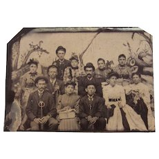 Tintype Photograph of a Family of 12