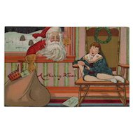 1909 Santa Christmas Postcard Embossed Sleeping Child