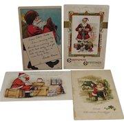 4 Early Santa Christmas Postcards - one P. Sander