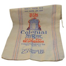 Vintage Colonial Sugar New Orleans Cotton 25 Pound Bag Vintage Kitchen - Red Tag Sale Item