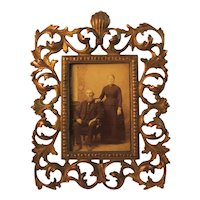 Ornate Victorian Cast Metal Frame with Portrait