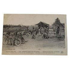 WWI American Soldiers in France Postcard ~ Les Americains En France