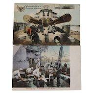 2 Pre WWII US Navy Battleship Postcards Ship Nautical