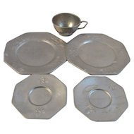Children's Tin Toy Dishes With Embossed Nursery Rhyme Designs