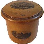 Scottish Mauchline Ware Melrose Abbey Covered Jar