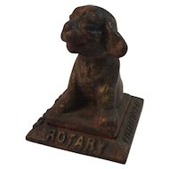 1938 Cast Iron Dog Paperweight Rotary Club, Littlestown, PA