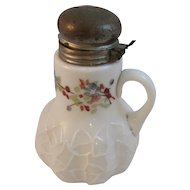 Alba Pattern Victorian Milk Glass Syrup Pitcher c1890s Handpainted