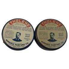 2 Vintage Tholene Salve Tins from the Rosebud Perfume Co