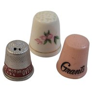 3 Vintage Thimbles Advertising and Bone China