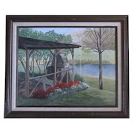 Picnic Pavilion in the Springtime by Mary Johnson Oil Painting