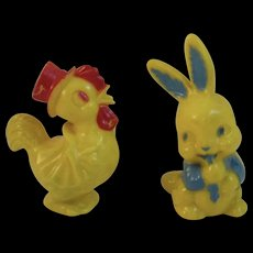 Vintage Hard Plastic Irwin Easter Bunny and Chick Rattles