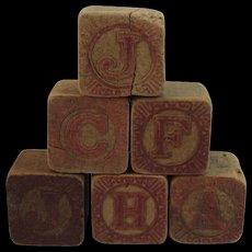 6 Victorian Alphabet Wood Blocks