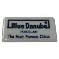 Vintage Blue Danube China Dealer Sign Advertising Porcelain Shelf Marker
