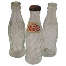 3 Miniature Soda Bottles Pepsi and Coca Cola Advertising
