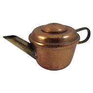 Dollhouse Miniature English Copper Teapot with Brass Handle and Spout