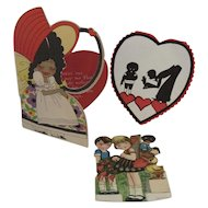 3 Black Americana Valentines 1 Marked Germany