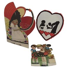3 Black Americana Valentines 1 Marked Germany