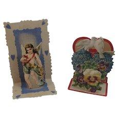 2 Victorian German Die Cut Miniature Pop Up Valentines