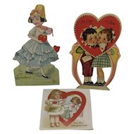 3 German Red Heart Valentines 1 Mechanical